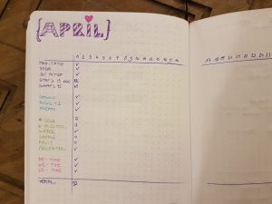 habit tracker close up.